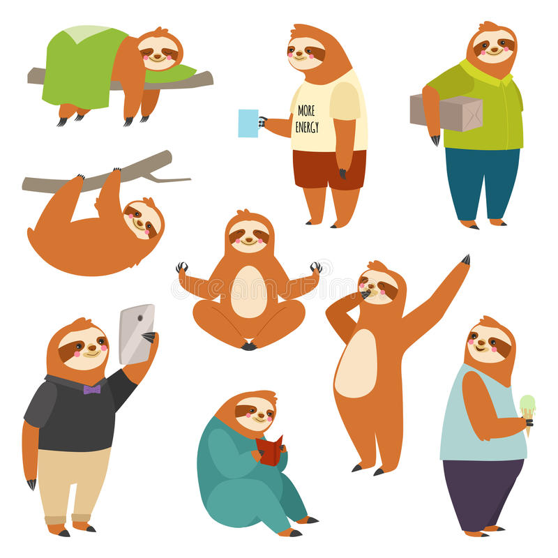 Laziness sloth animal character different human pose lazy cartoon kawaii wild jungle mammal flat design vector. Illustration. Cheerful wildlife forest art happy royalty free illustration