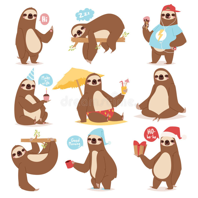 Laziness sloth animal character different pose like human cute lazy cartoon kawaii and slow down wild jungle mammal flat vector illustration