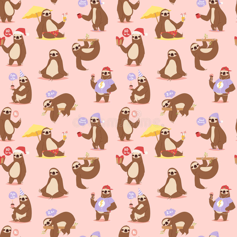 Laziness sloth animal character different pose seamless pattern vector vector illustration