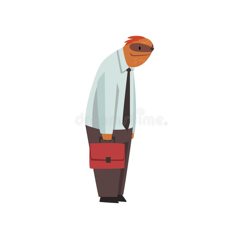 Laziness Sloth Businessman Office Worker, Cute Humanized Animal Cartoon Character Wearing Formal Clothes Standing with royalty free illustration
