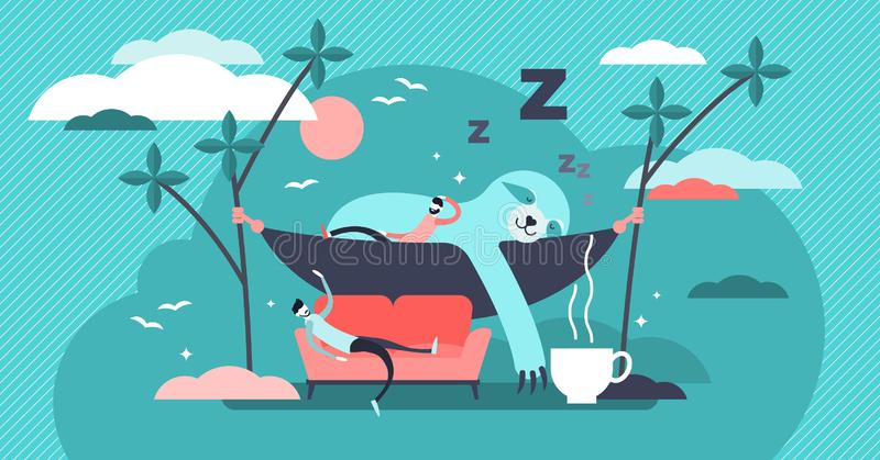 Laziness vector illustration. Flat tiny sleepy animals and persons concept. royalty free illustration