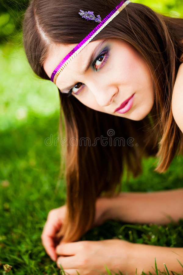 Lazing in the grass royalty free stock photos
