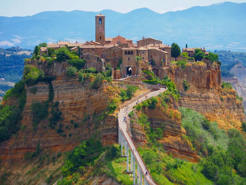 Bagnoregio. Lazio, italy, view of bagnoregio perched on its rock base royalty free stock photos