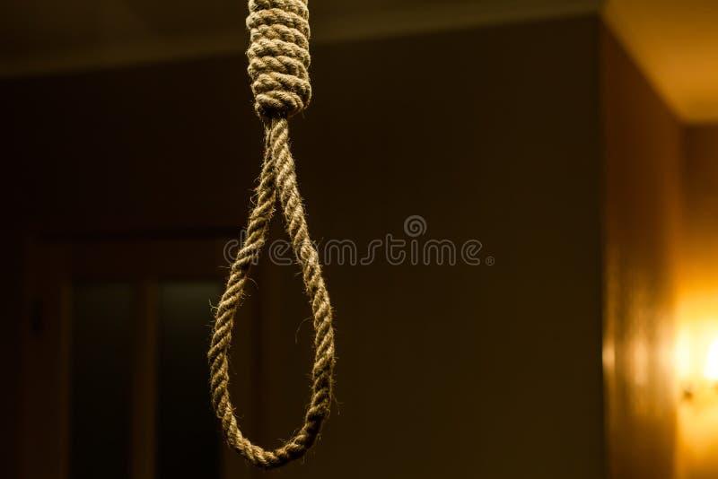 Lazo de la cuerda del suicidio imagen de archivo