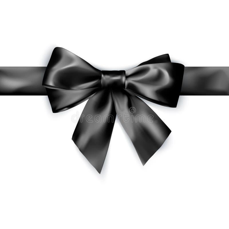 Lazo de satén negro de la elegancia con la cinta Ilustración del vector aislada en el fondo blanco stock de ilustración