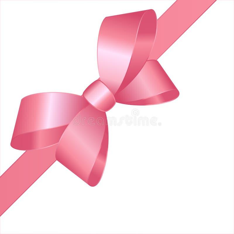 Lazo de satén rosado decorativo con la cinta horizontal aislada en blanco Arco del regalo del vector con la cinta encrespada para stock de ilustración