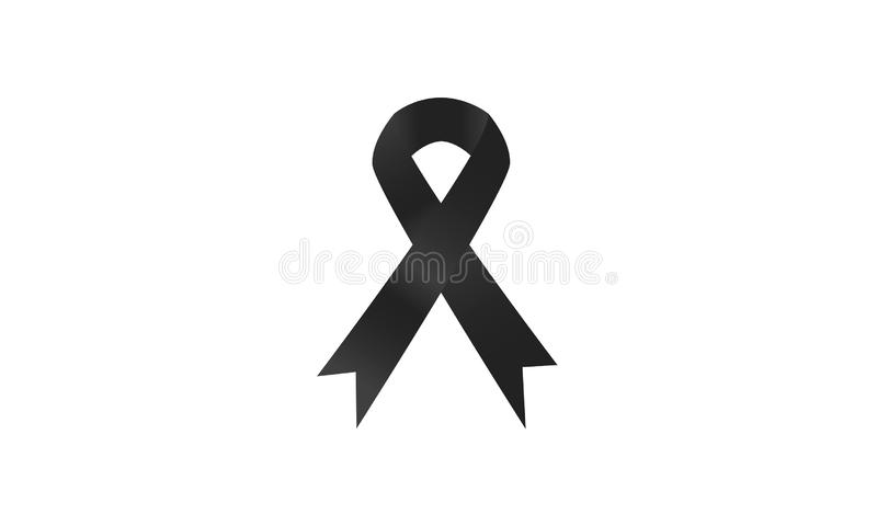 Lazo negro bajo la forma de arco fúnebre stock de ilustración