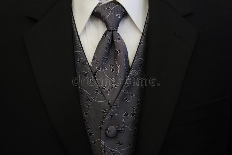 Lazo y chaleco negros de la plata del smoking foto de archivo