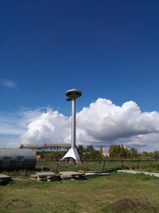 Lazurnoe, Ukraine: water tower on the beach stock photo