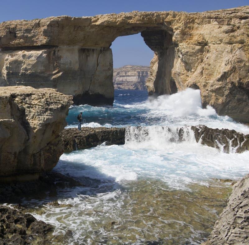 lazurowy gozo Malta okno obraz stock