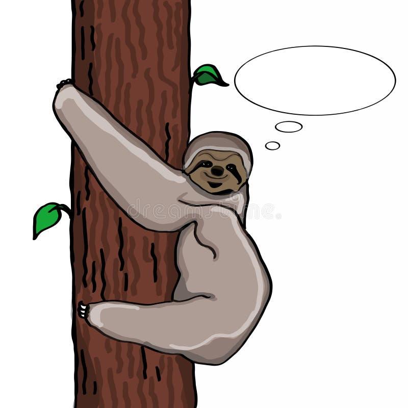 Lazy animal cartoon thinking balloon illustration. And white background vector illustration