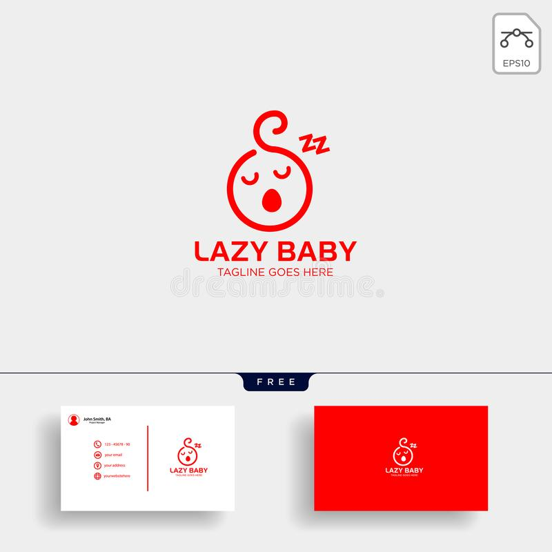 Lazy baby, lazy child creative logo template with business card stock illustration