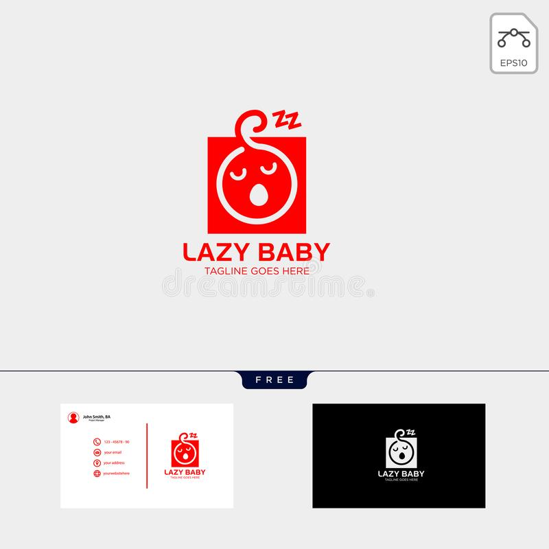Lazy baby, lazy child creative logo template with business card. Lazy baby, lazy child creative logo template illustration, icon elements isolated with business stock illustration