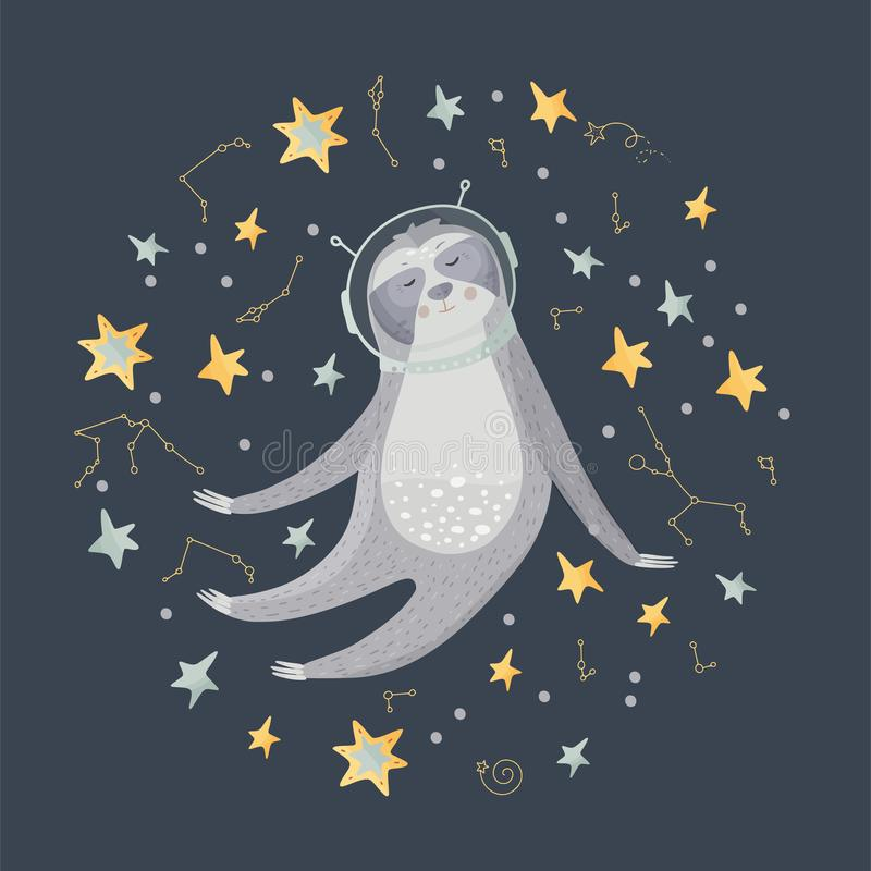 Cute cartoon sloth flying in open space. Among the stars. Lazy bear astronaut vector illustration in a flat style stock illustration