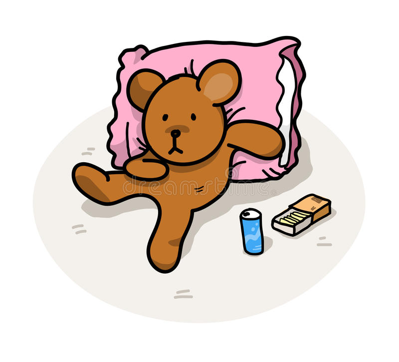 Lazy Bear. A hand drawn vector illustration of a bear leaning on a pillow, relaxing, enjoying snacks (editable shadow and background royalty free illustration