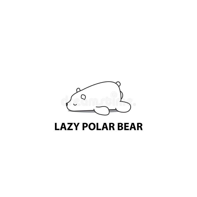 Lazy bear, polar bear sleeping icon. Logo design, vector illustration royalty free illustration