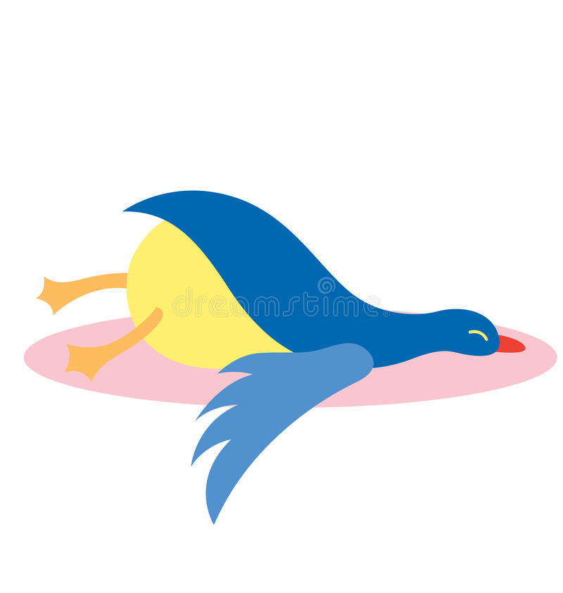 Lazy bird. A lazy bird sleeping on the ground stock illustration