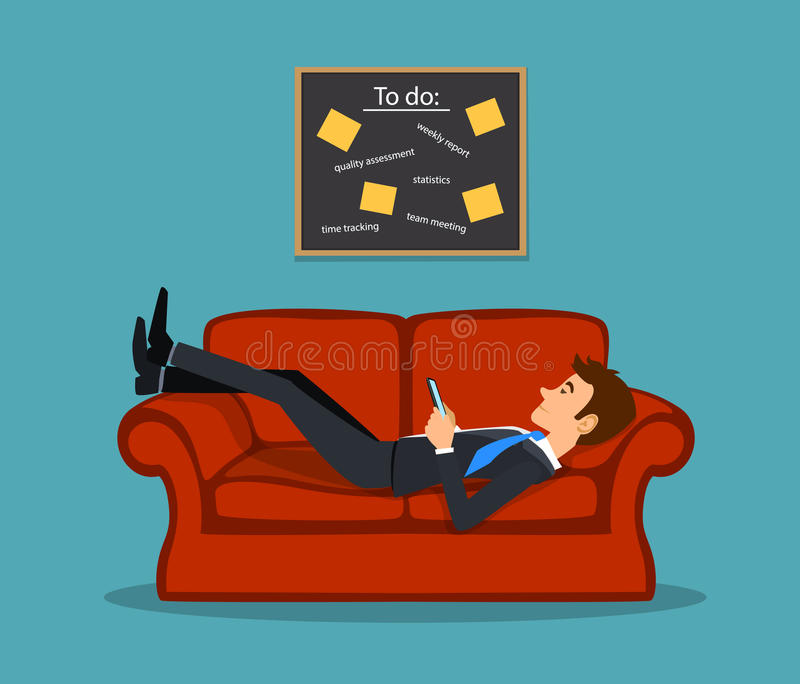 Lazy bored employee laying on couch, playing with telephone postponing his tasks from to do list. vector illustration