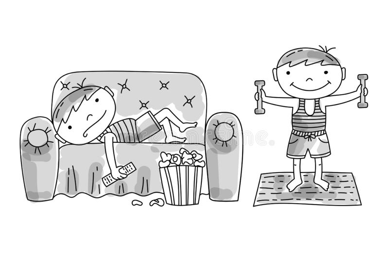 Lazy boy on couch, active boy doing exercises. Lazy boy lying on couch with popcorn and tv remote. Active boy doing morning exercises with dumbells. Bad and good stock illustration