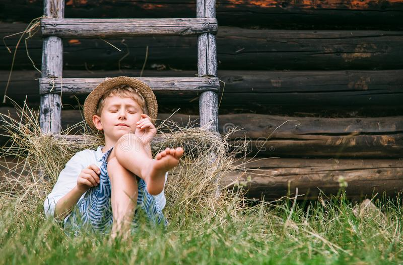 Lazy boy lies in grass under the barn - careless summer on count. Ryside royalty free stock photography