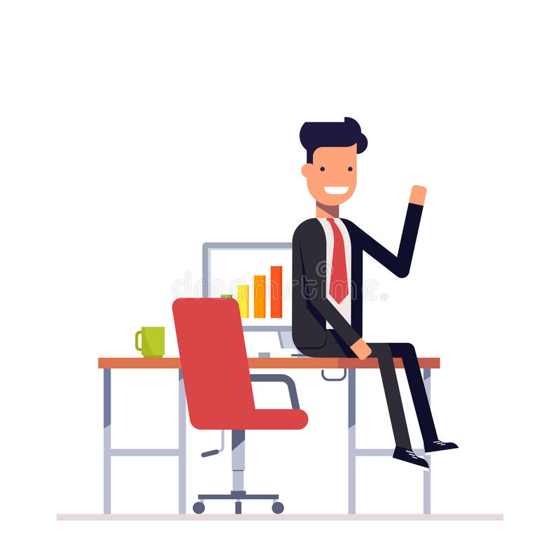Lazy businessman or manager sitting at the table. Man in a business suit smiling and waving. Vector, illustration EPS10. vector illustration