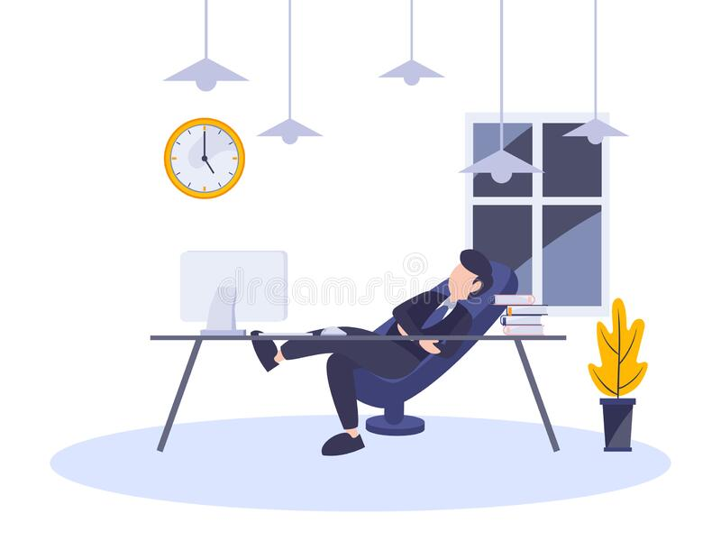 Lazy businessman resting sitting on chair at workplace. Vector illustration flat digital design style of person working late. vector illustration