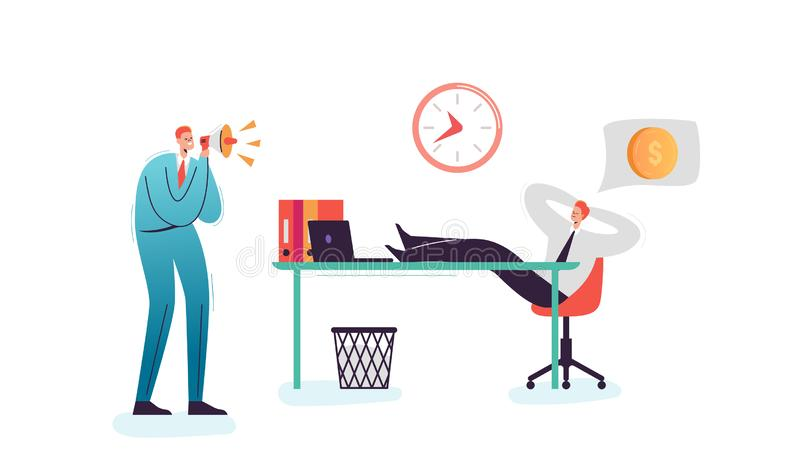 Lazy Businessman Sleeping at Work Office. Exhausted Man Character Relaxing Behind his Desk. Boss Shouting with Megaphone stock illustration