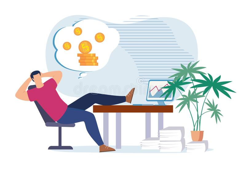 Lazy Office Worker Dreaming about Money and Wealth. Lazy Cartoon Office Worker Procrastinating at Work Place and Dreaming about Money, Revenue Growth, Passive vector illustration
