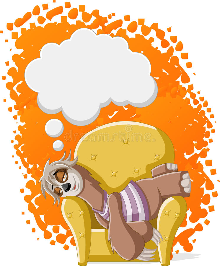Lazy cartoon sloth. Lazy female cartoon sloths on sofa. Napping on a couch stock illustration