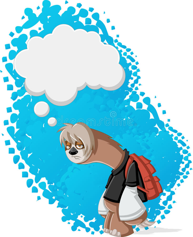 Lazy cartoon sloth. S thinking. Bored teenager with backpack stock illustration