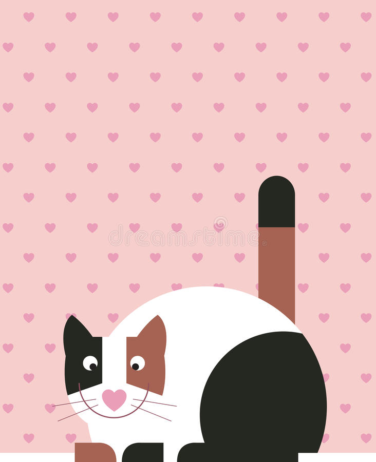 Lazy Cat. Cat is resting with a decorative background with wallpaper with hearts stock illustration