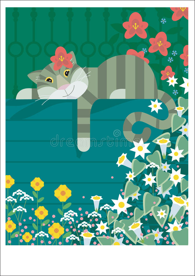 Download Lazy cat rests stock illustration. Image of park, playing - 28266304