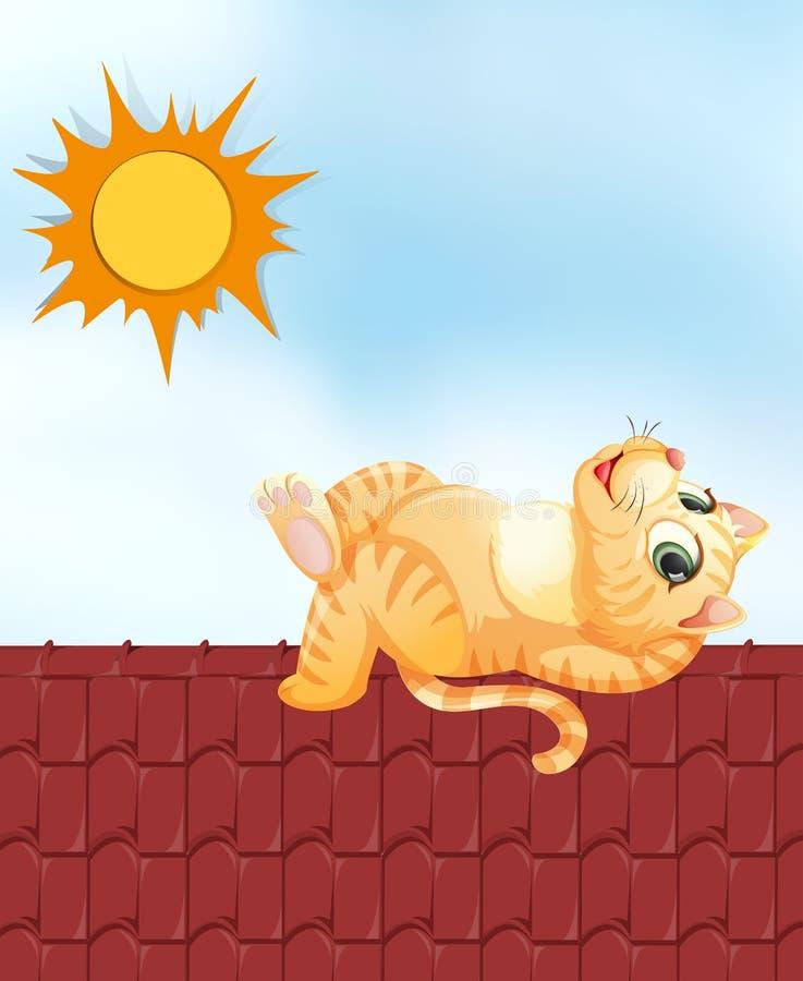 Lazy cat on the roof. Illustration royalty free illustration
