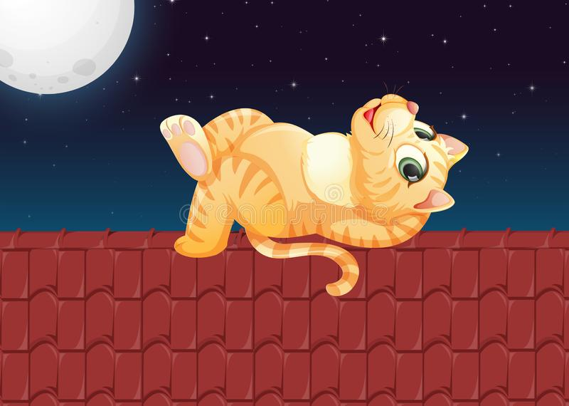 A lazy cat on the roof. Illustration stock illustration