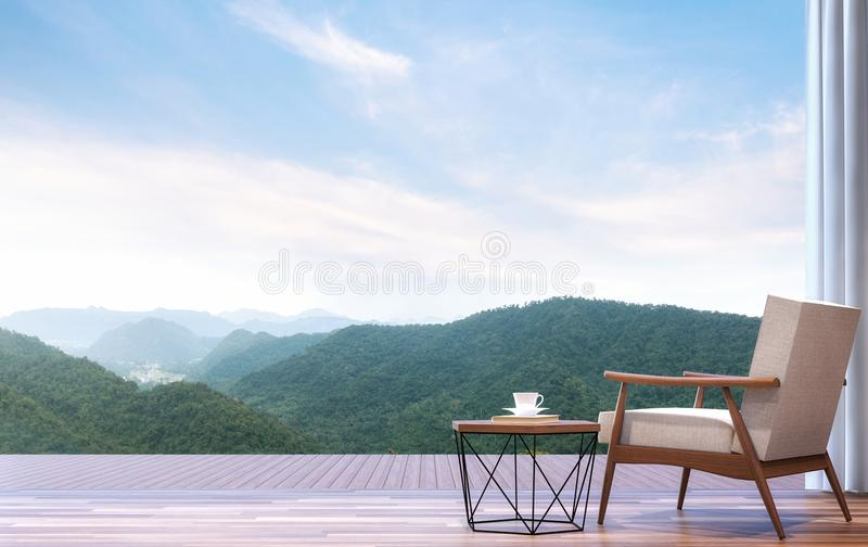 Lazy chair with mountain view 3d render. The room has wooden floor.Furnished with wood and fabric furniture.Looking out to the terrace and mountains view vector illustration