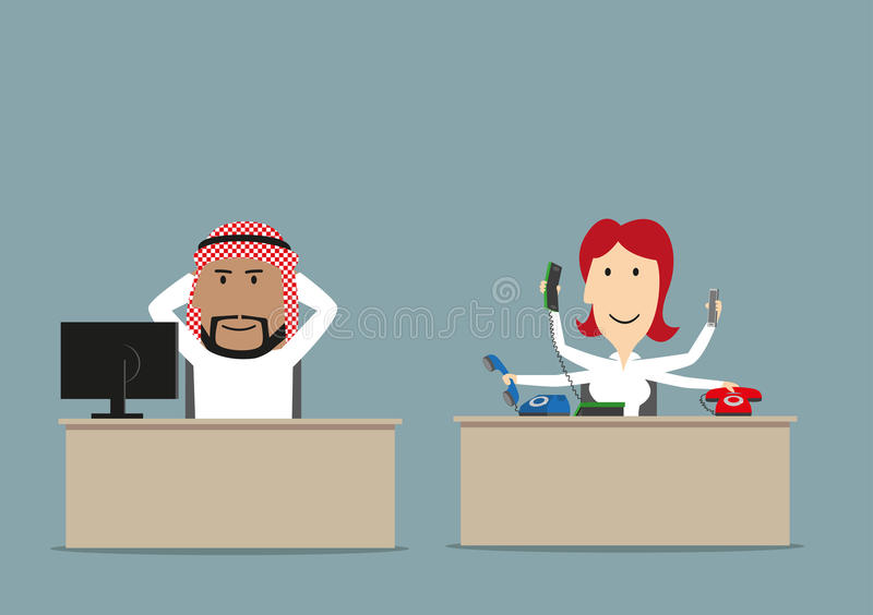 Lazy chief and busy secretary in office. Cartoon lazy arab chief relaxing at workplace while his secretary working. Lazy worker, unfair teamwork, overwork stock illustration