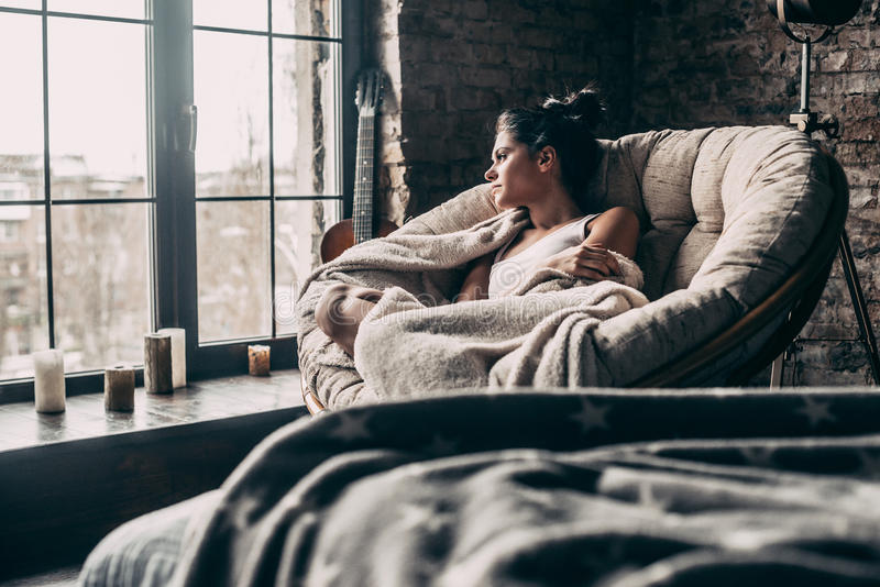 Lazy day at home. stock photography