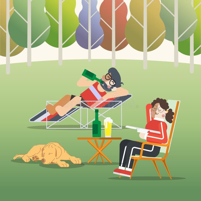 Lazy Day. People vector illustration stock illustration