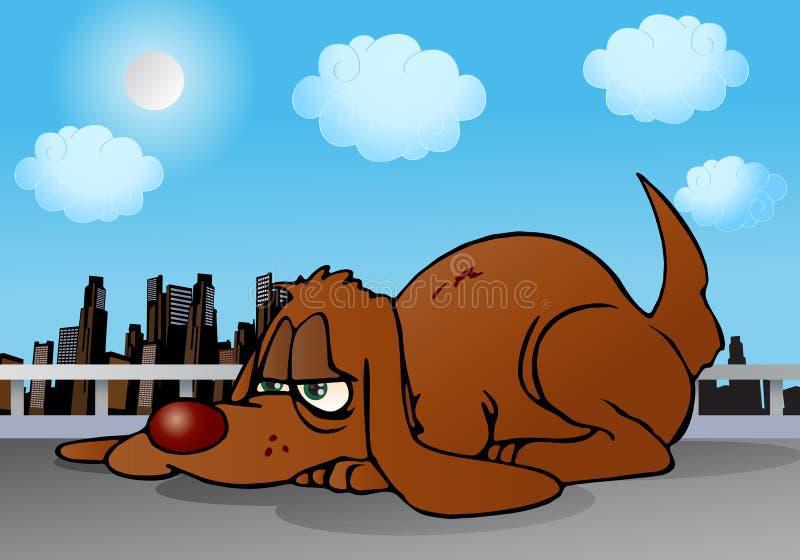 Lazy dog. Illustration of a brown lazy dog on city background stock illustration