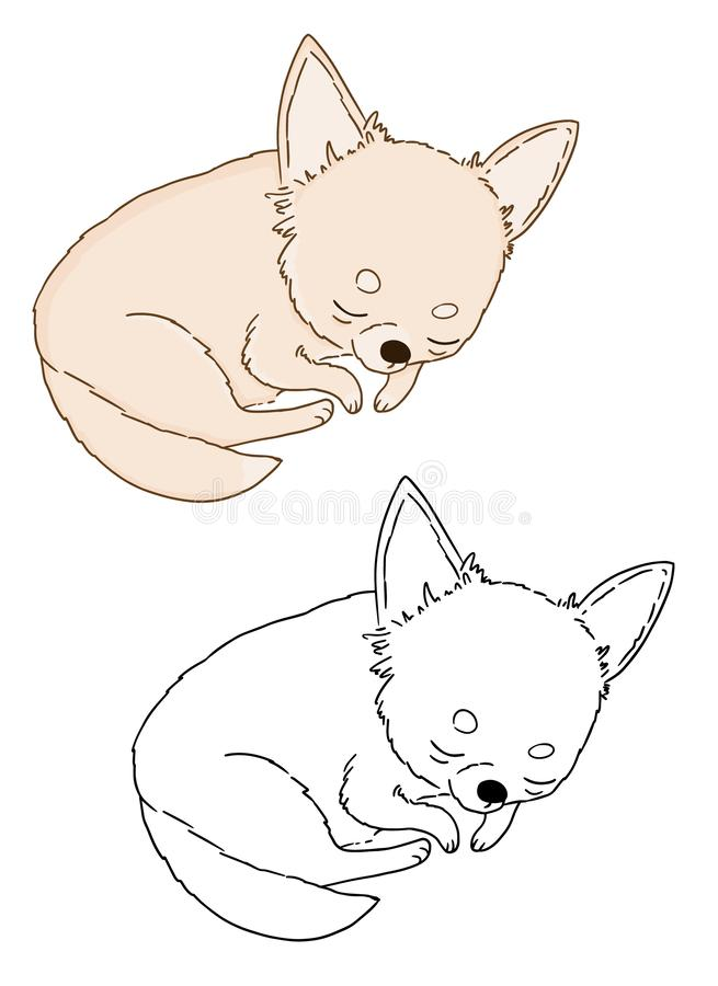 Lazy dog, vector illustration of cute chihuahua puppy sleeping icon on white background. Hand drawn picture of little dog for stock illustration