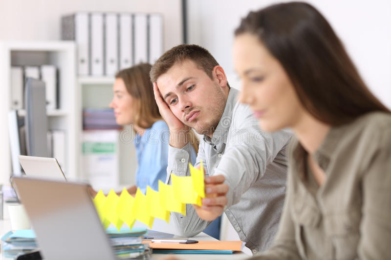 Lazy employee boring at office royalty free stock photo