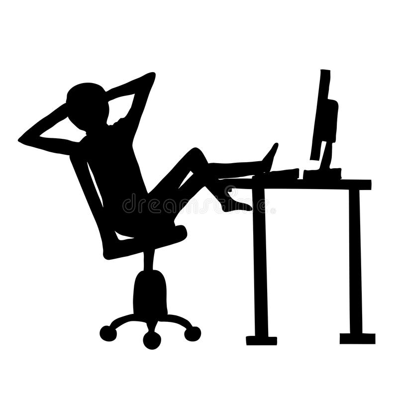 Lazy employee and computer. Black silhouette on white background stock illustration