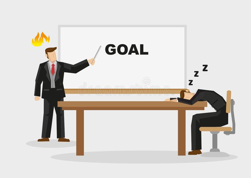 Lazy Employee Sleeping in Meeting Cartoon Vector Illustration. Business professional fell asleep on table when manager makes business presentation on goal vector illustration