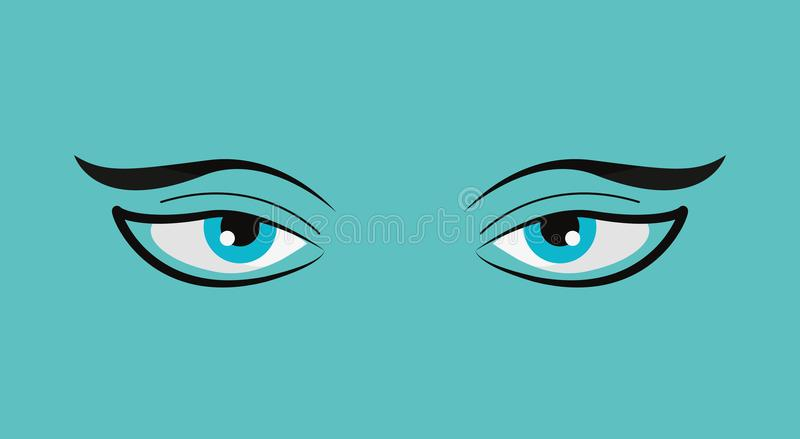 Lazy eyes design. Lazy eyes and eyebrows over blue background, colorful design. vector illustration vector illustration