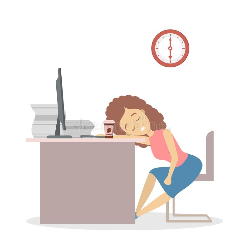 Tired business woman sleeping in the office. Lazy female worker sleeping in the office. Tired business woman fell asleep at the work time. Isolated flat vector royalty free illustration