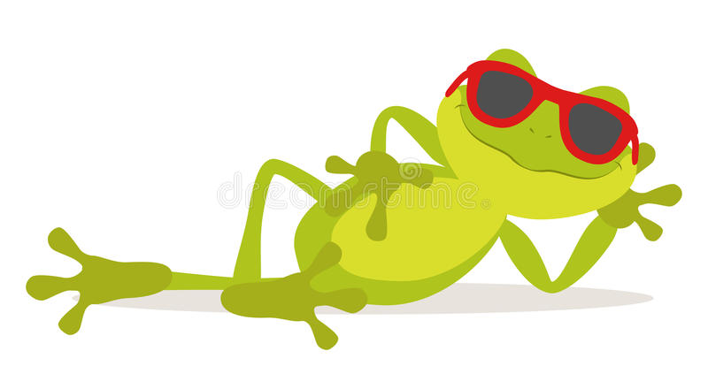 Lazy frog. Lazy relax frog sunbathing with glasses vector illustration