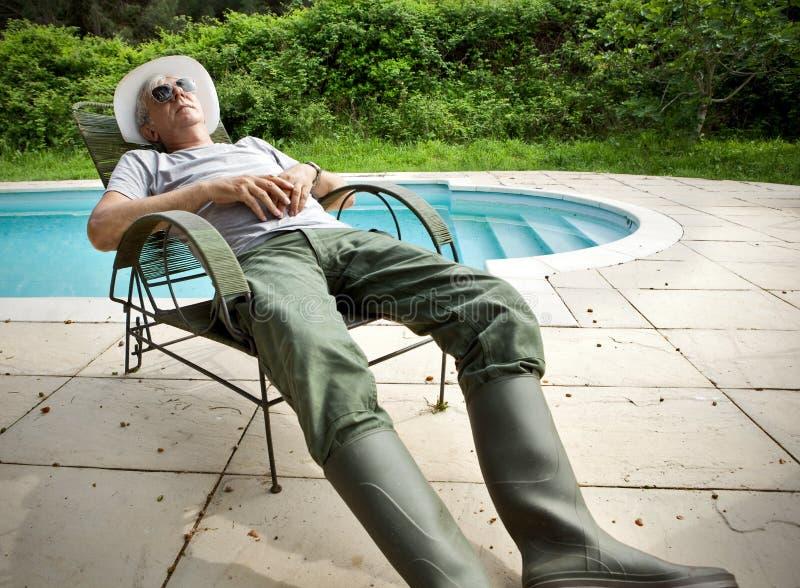 Lazy gardener. stock photos