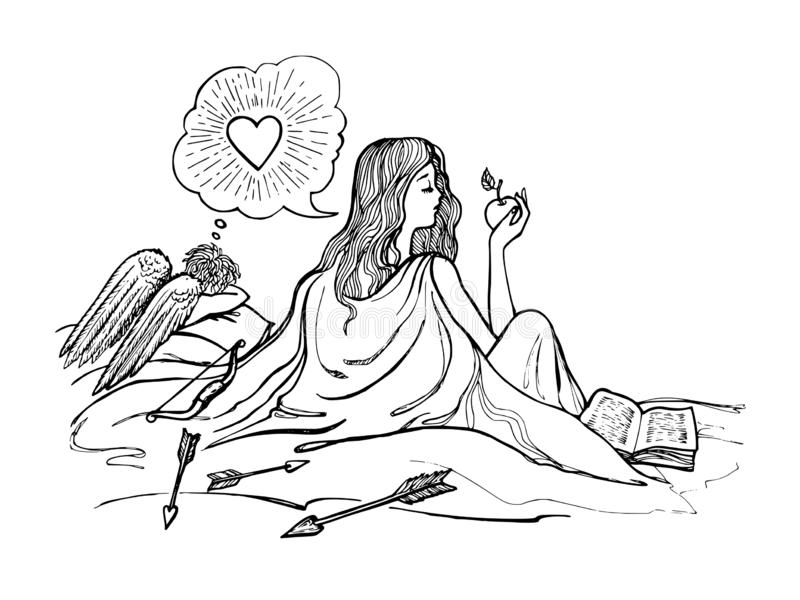 Lazy girl dreams of love, cupid suffers, vector, monochrome. Lazy girl dreams of love, cupid suffers, vector monochrome stock illustration
