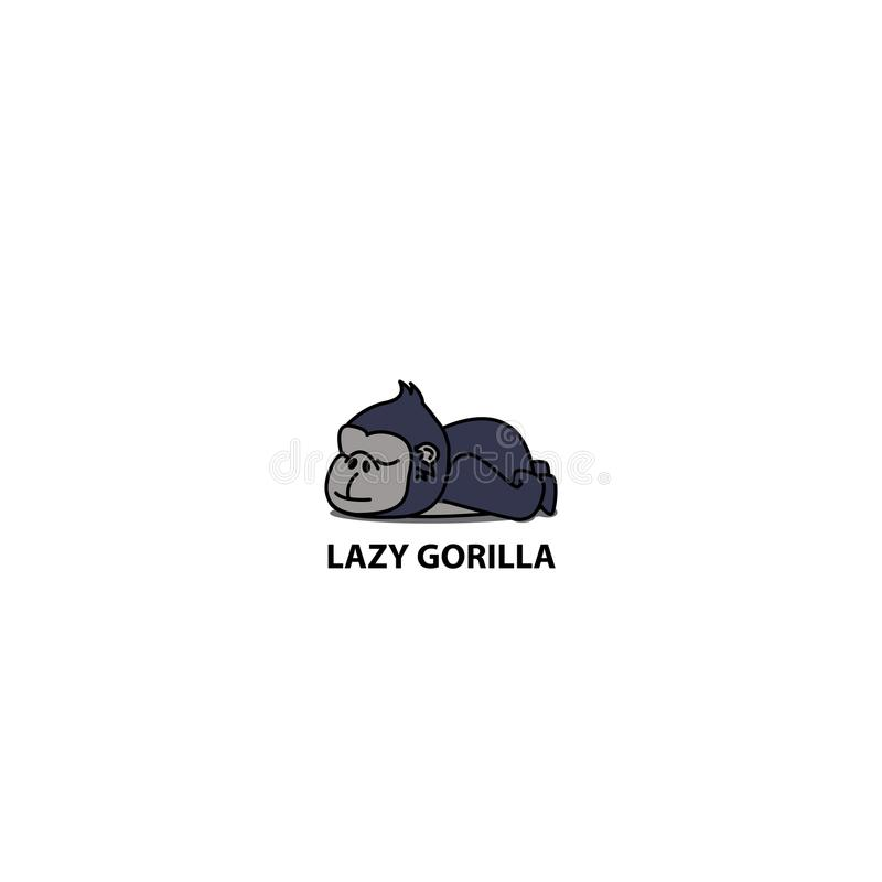 Lazy gorilla, sleeping gorilla icon. Logo design, vector illustration royalty free illustration