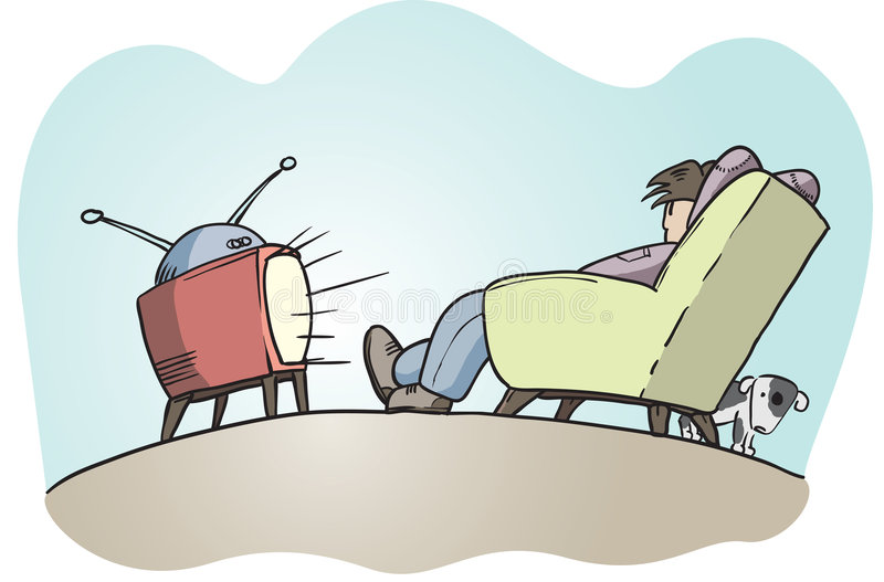 Download Lazy guy watching tv stock vector. Image of television - 3788402